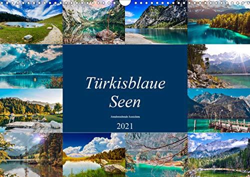 Türkisblaue Seen (Wandkalender 2021 DIN A3 quer)
