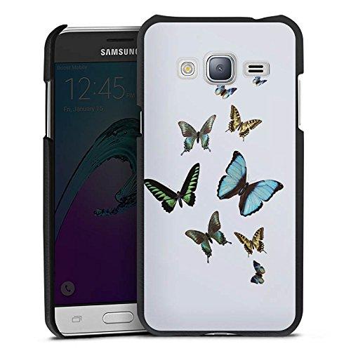 DeinDesign Cover kompatibel mit Samsung Galaxy J3 Duos 2016 Lederhülle schwarz Leder Hülle Leder Handyhülle Schmetterling Butterfly Schmetterlinge