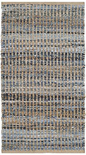 Safavieh Cape Cod Collection CAP352A Handmade Flatweave Coastal Braided Jute Accent Rug, 2' x 3', Natural / Blue