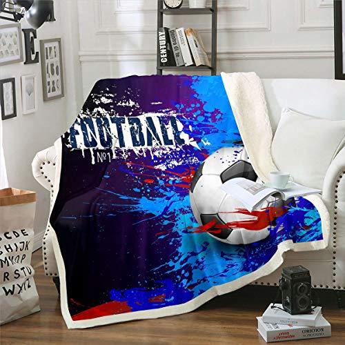 Manta de forro polar para niños, temática deportiva, para niños, adolescentes, adultos, niñas, diseño de pelota de fútbol, manta de felpa, color azul, para sofá, cama, cama doble, 152 x 192 cm