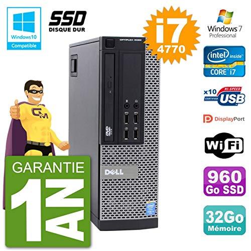 Dell PC 9020 SFF Intel i7-4770 RAM 32Go SSD 960Go DVD Burner Wifi W7 (Reconditioned)