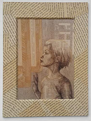 Bild für Leseratten und Bibliomanen: Nostalgischer Kunstdruck auf Buchseite, im handgemachten Passepartout