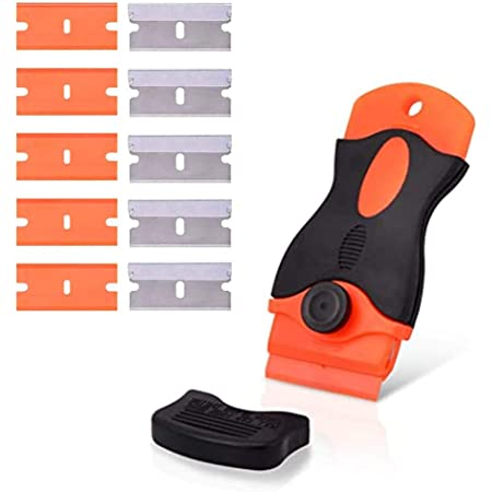 シール剥がし スクレーパー ガラススクレーパー ポケットスクレーパー 安全スクレーパー ガラス汚れ落とし ガラス掃除壁面の付着物のかき落とし (プラスチックブレード5個、ステンレスブレード5個、ブレードカバー付き) 替刃付10個 ステッカー/シール/ラベル/接着剤剥がし