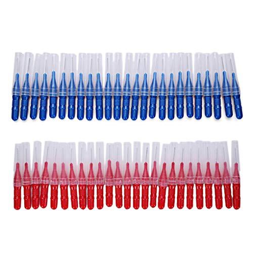 PRENKIN 50pcs Cepillo interdental Suave Cepillo Dental Entre los Dientes de plástico palillo de Dientes Oral, Dental Limpiador interdental plástico palillo de Dientes Oral