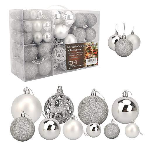 Ulikey Bolas de Navidad 100 Piezas Bolas de Árbol de Navidad Adornos Decoraciones Árbol Adorno de Pared Colgante de Pared Decoración de Bolas de Navidad Decoraciones para Festivales Fiesta (Plateado)