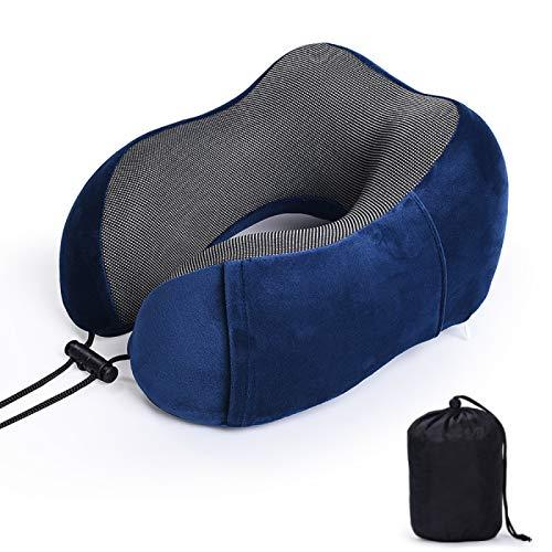 MSNLY Almohada para el Cuello Espuma viscoelástica de Rebote Lento Almohada Protectora en Forma de U de algodón Puro Almohada para el Cuello de Viaje de Color Puro