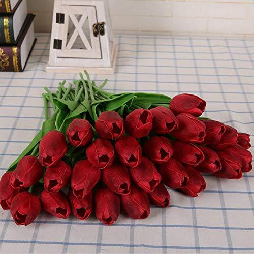 Nikgic 9 stück Simulation Tulpe Blumenstrauß Gefälschte Blume Pflanzenwand Hauptdekoration Requisiten schießen Hochzeitsdekoration (Rot)