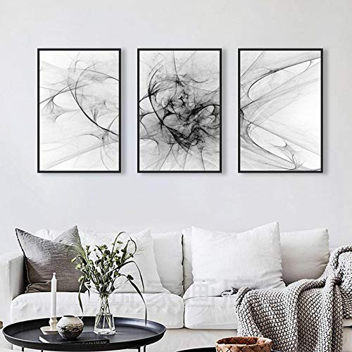 XIANGPEIFBH Nordic Minimalist Abstract Line Canvas Paintings Black and White Posters Prints Wall Art Pictures Hotel Decoration 40x60cmx3pcs Unframed