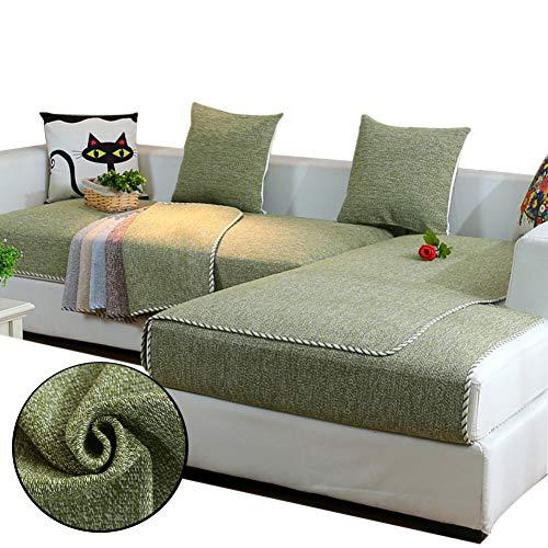 Love House Reversible Sofa Überwurf, Leinen Schnitt Schonbezug Sofa Schmutzresistent Sofaüberwurf Sofa Throw Einfarbig Sofa Abdeckung -grün 70x150cm(28x59inch)