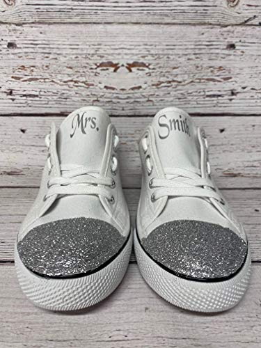 Wedding Tennis Shoes for Bride Personalized Reception Ceremony White Canvas Sneakers Women Glitter Bling Monogrammed