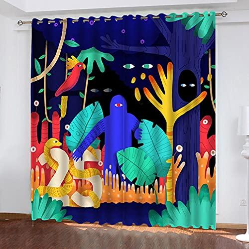 ASNIVI Cortinas Opacas Niña Color Graffiti Dibujos Animados Anime 280 X 200 cm con Ojales Ventana De Dormitorio Ventana Mirador Oscurecimiento De La Habitación Cortinas Opacas Niño Microfibra