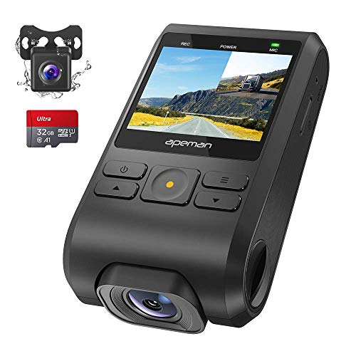 APEMAN Dash Cam, Front and Rear Camera for Cars FHD 1080P IPS Screen, Support GPS, SD Card Included, Night Vision, 170°Wide Angle, Motion Detection, Loop Recording, G-Sensor, Parking Monitor, WDR