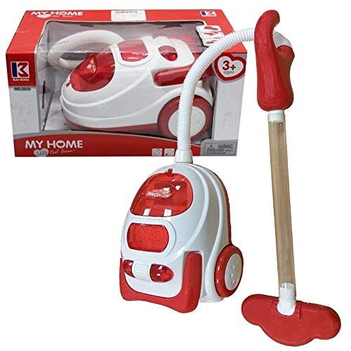 kids role play vacuum cleaner hoover realistic toy red with lights & sounds 546