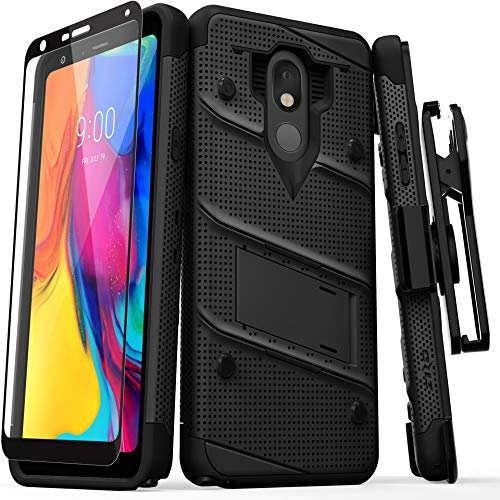 ZIZO Bolt Series LG Stylo 5 Case Military Grade Drop Tested with Full Glass Screen Protector Holster and Kickstand Black Black