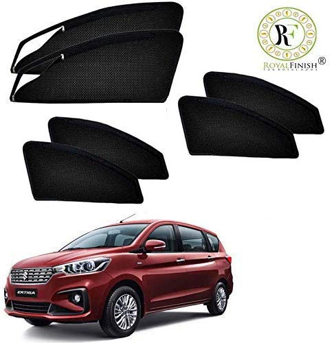 Royal Finish Car Accessories Zipper Magnetic Sunshades for Ertiga 18-2019 to Present - Set of 6 Pcs