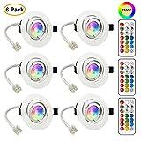 LED Spots Encastrables Orientable GU10 Ampoule RGB Couleur Changement Lampe Blanc Chaud 2700K de plafond du Jour Plafonnier Encastré 3W AC 85V-265V Spot Bulb Rond métal avec Télécommande(6er Set)