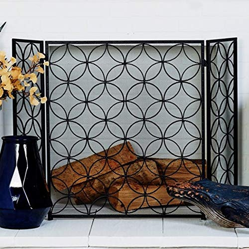 Find Bargain HWF Folding Iron Black Fireplace Screen Spark Guard 3 Panel, Extra Wide Metal Mesh Safe...