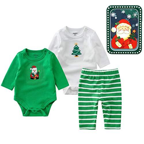 Bebé Navided Monos Leggings 3 Piezas, Manga Larga Pijama Pelele Pantalones Largos...