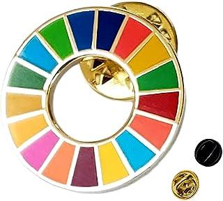 SDGs バッジ 【20mm 小さめ ミニ 社章サイズ】sdgs ピンバッジ 国連本部最新ガイドライン仕様 ゴールド 金色 表面七宝焼き 留め具付き (1個)