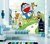 ZJJBH Selbstklebende 3D-Tapete Fototapete Wand (B) 450X (H) 300Cm Cartoon-Katze Ein Traum Roaming Paradies Kinder Junge Mädchen Raumdekoration Tapete - Wohnzimmer Schlafzimmer Büro Bar...