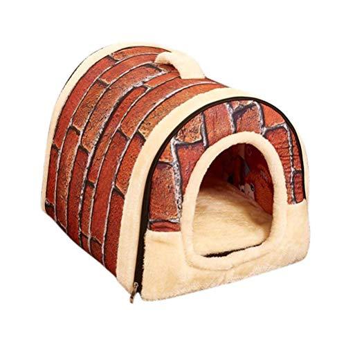 JUZIPS Gezellige 2-in-1 Pet House and Sofa gripvaste Doghouse winterwarm houden wasbaar hondenbed opvouwbaar zacht warm huisdier nest cave bed huis
