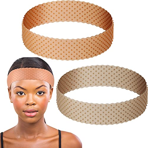 2 Pieces Non-slip Wig Grip Band Adjustable Silicone Wig Headband Seamless Wig Headband Holder for Men Women Sports Yoga (Light Brown, Dark Brown)