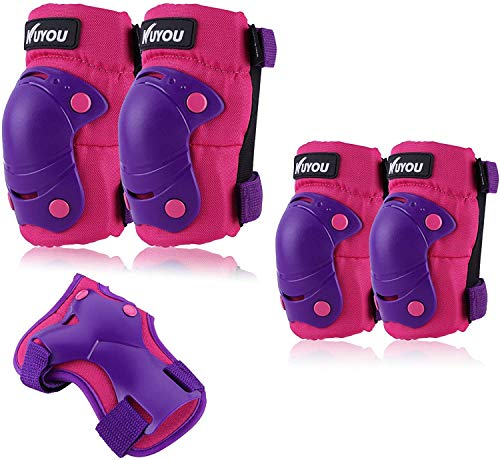 Kinder Knieschoner Set 6 in 1 Kit Schutzausrüstung Knie Ellbogenschützer (Violett)