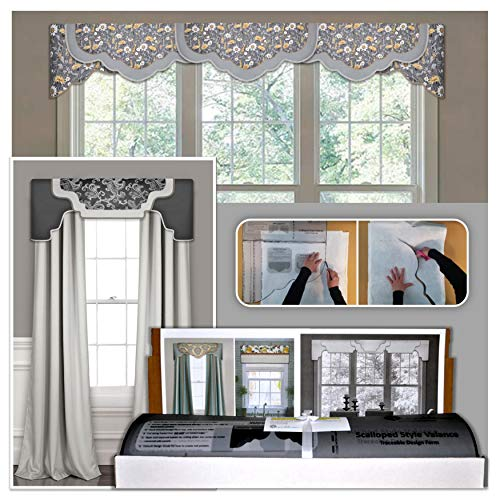 DIY Valance Kit, No Sewing, 3 Styles in One Kit, All Window Sizes, Including Bay Windows, Reusable, Pattern, No-Sew Room Decor, Bedroom, Living Room, Dining Room, Kitchen Curtain (Valance Kit)