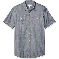Amazon Essentials - Camisa de cambray de manga corta para hombre, gris, US XXL (EU XXXL - 4XL)