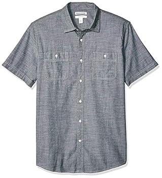 Amazon Essentials Men s Regular-Fit Short-Sleeve Chambray Shirt Grey XX-Large