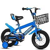 Mediawave Store - Bicicletta per Bambini Magic Taglia 12 con Cestino età 3-5 Anni con rotelle Che Si Montano e smontano, Sella Regolabile, Freni a Tamburo Posteriori (Blu)
