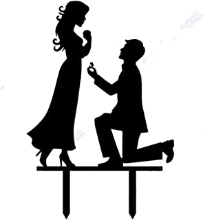 Homanda Black Acrylic Marry Me Wedding Couple Wedding Decoration Cake Topper for Wedding Engagement Bridal Shower Wedding