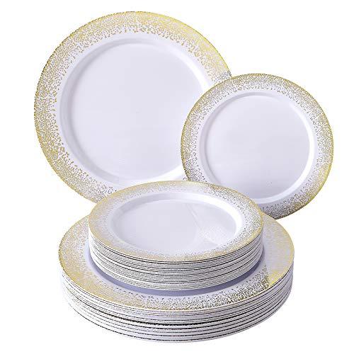 Silver Spoons Dinnerware Set PEQUEÑOS Desechables | 20 Unidades | Platos de plástico Resistente | Aspecto...