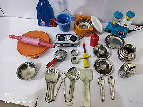 Tirtha Enterprises 27 Pieces Mini Stainless Steel Utensils/ Mini Kitchen Set/ Great Kitchen Toys for Kids/ Best Gift Items.