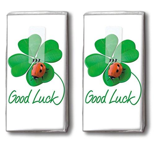 20 Taschentücher (2X 10) Good Luck to You – Viel Glück für Dich/Glücksbringer/Motivtaschentücher