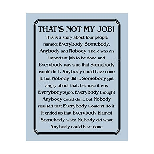 'That's Not My Job'-Motivational Wall Art Sign-8 x 10' Humorous Typographic Poster Print-Ready to Frame. Ideal Home-Office-School-Décor. Great Sarcastic Desk & Cubicle Sign. Perfect for Teachers!
