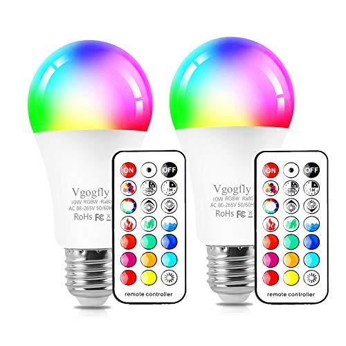 RGB Led Light Bulbs 10W Color Changing Light Bulb with Remote Control 5000k Daylight White (2 Pack)