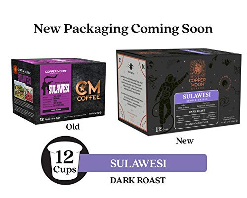 Copper Moon Coffee Single Serve Pods for Keurig 2.0 K-Cup Brewers, Single Origin Sulawesi, Dark Roast Coffee with Flavor Notes of Cinnamon and spice, 12 Count