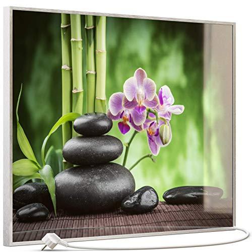 STEINFELD Heizsysteme® Glas Bild Infrarotheizung mit Thermostat | Made in Germany | viele Motive 350-1200 Watt Rahmen silber/alu (500 Watt, 055 Zen Basaltsteinen)