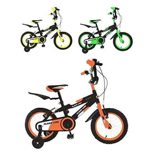 Bici Bicicletta Flash Line per Bambino Misura 16' con ROTELLE Nero Verde