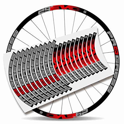 Kit Pegatinas Bicicleta Stickers LLANTA Rim Progress EVO 29' MTB BTT B (Rojo y Gris)