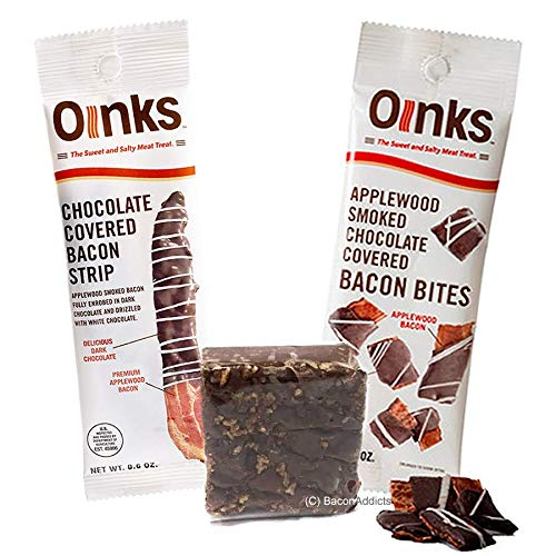 Genesee Bacon Chocolate Sampler (3pc Gift Set) - Bacon Bites, Bacon Chocolate Fudge & Dark Chocolate Covered Bacon Strip
