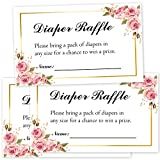 50 Floral Diaper Raffle Tickets for Baby Shower, Pink Floral Diaper Raffle Ticket Lottery Insert Cards, Bring a Pack of Diapers to Win Favors, Baby Shower Games for Girls.