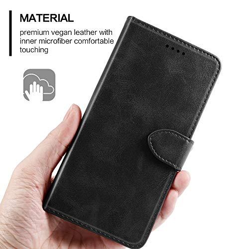 EASYCOB Hülle für Huawei P40 Pro Hülle, Premium Handyhülle Tasche Leder Flip Case Brieftasche Magnetischen Etui Schutzhülle für Huawei P40 Pro, Schwarz - 5