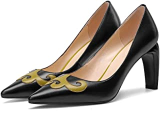 [ツネユウシューズ] レディース 8.5cm ヒール パンプス 痛くない 脱げない 太ヒール 小さいサイズ ポインテッド ポインテッドトゥ 美脚 ハイヒール 靴 黒 歩きやすい 走れる 結婚式 卒業式 卒園式 入園式 入学式 牛革 やわらかい パーティー