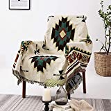AIVIA Southwest Throw Blanket for Couch Bed, Cotton Woven Southwestern Navajo Throws Tapestry Cover for Living Room Chair Sofa Decorative w/ Boho Fringe - Off White Green Burgundy Red, 50' x 60'