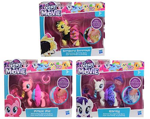 My Little Pony-figuren, set van 3 Pinkie Pie, Rarity & Songbird Serenade, de rots van de paarden wervelt met een druk op de knop