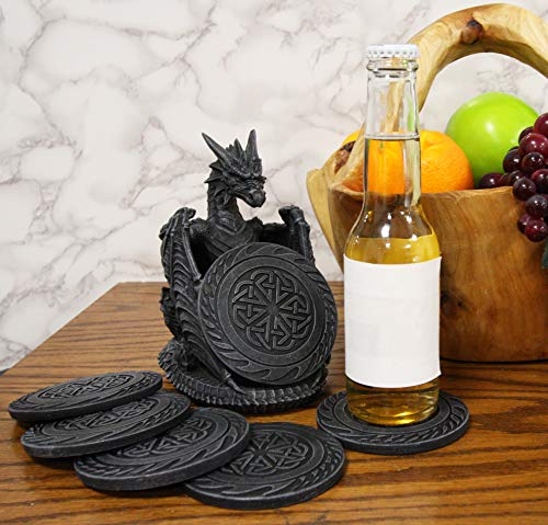 Ebros Gift Gothic Winged Guardian Dragon with Celtic Knotwork Coaster Set Figurine Holder with 6 Round Coasters 6.25' Tall Dungeons and Dragons Mythical Fantasy Flying Beast