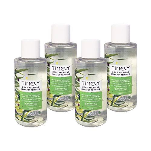 Timely - Desmaquillante micelar 2 en 1 con extractos de aloe, árnica montana y manzanilla (pack de 4 x 150 ml)