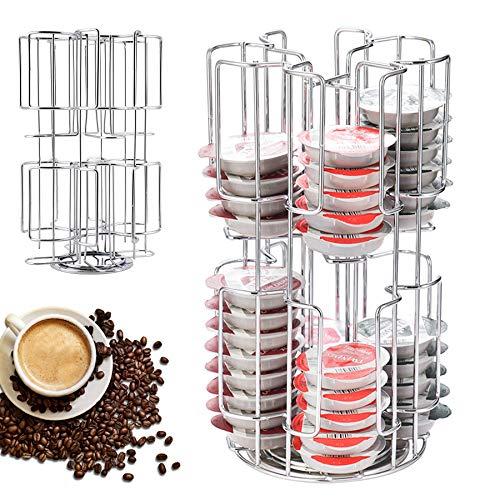 Lueigmo Metallkapselhalter für 64 Tassimo-Kaffeekapseln, Kaffeekapseln Karussell- Kapselspender, Kapselhalter zur Aufbewahrung, Halter Silber Solide drehbare Halterung Kapselständer Dispenser